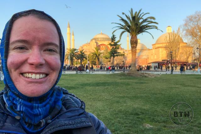 Headscarf Hagia Sophia Istanbul Sunset