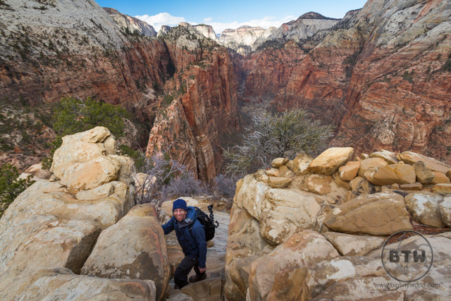Aaron nearing the top of Angels Landing in Zion National Park